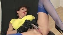 Masturbating in blue nylons